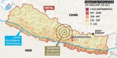 la carte du seisme et la densite